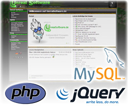 UnrealSoftware.de with PHP, MySQL and jQuery